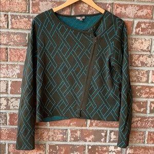 Lilla/P / Anthropologie Zip Geometric Sweater